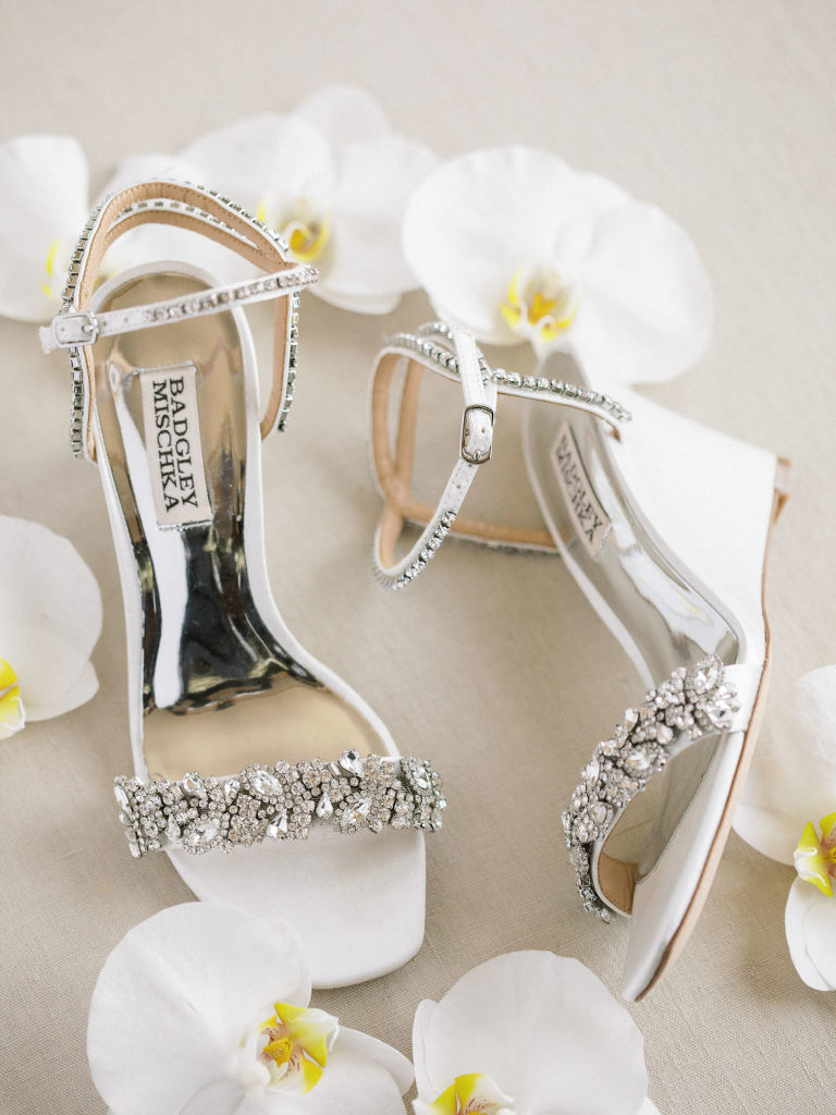 Timeless Classic White Badgley Mischka Rhinestone Strap Wedge Heel Wedding Shoes
