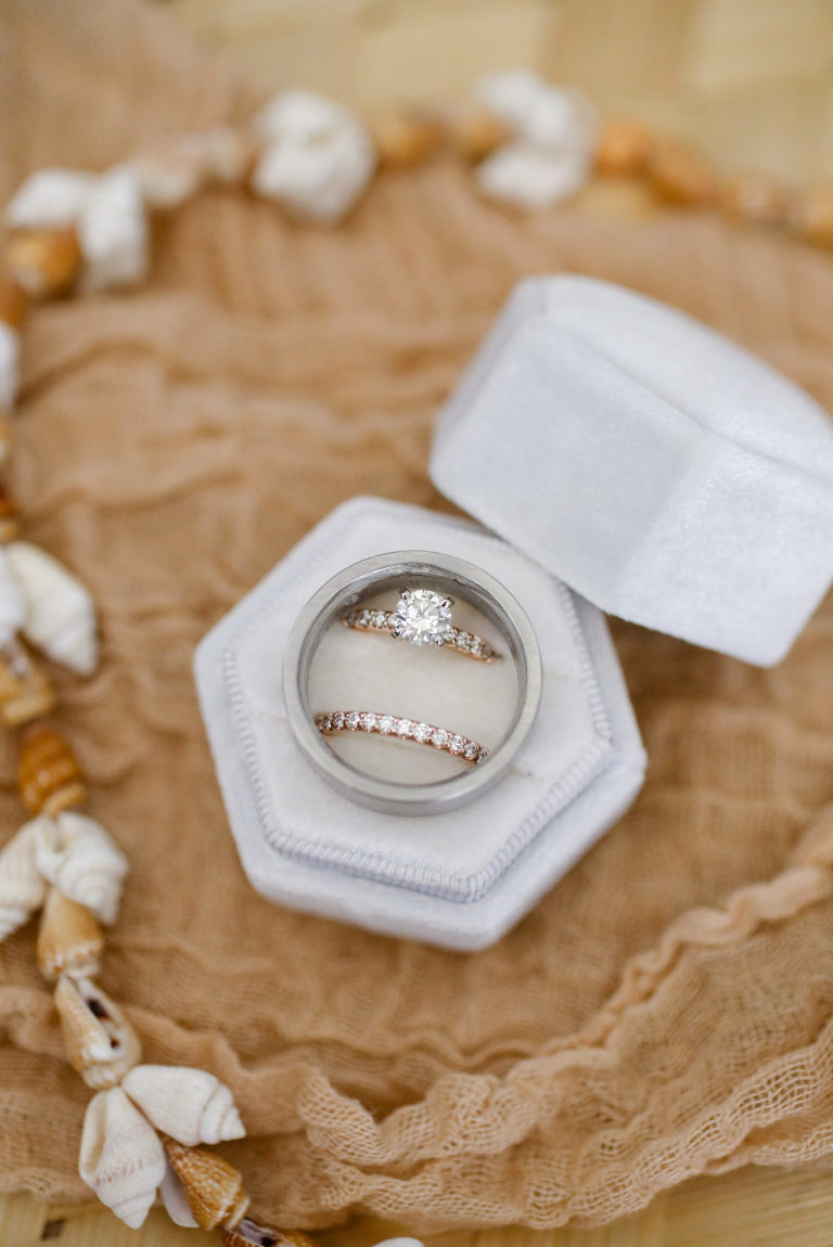 Round Diamond Engagement Ring, Rose Gold Diamond Bride Wedding Band in Gray Velvet Ring Box | Tampa Bay Wedding Photographer Lifelong Photography Studio