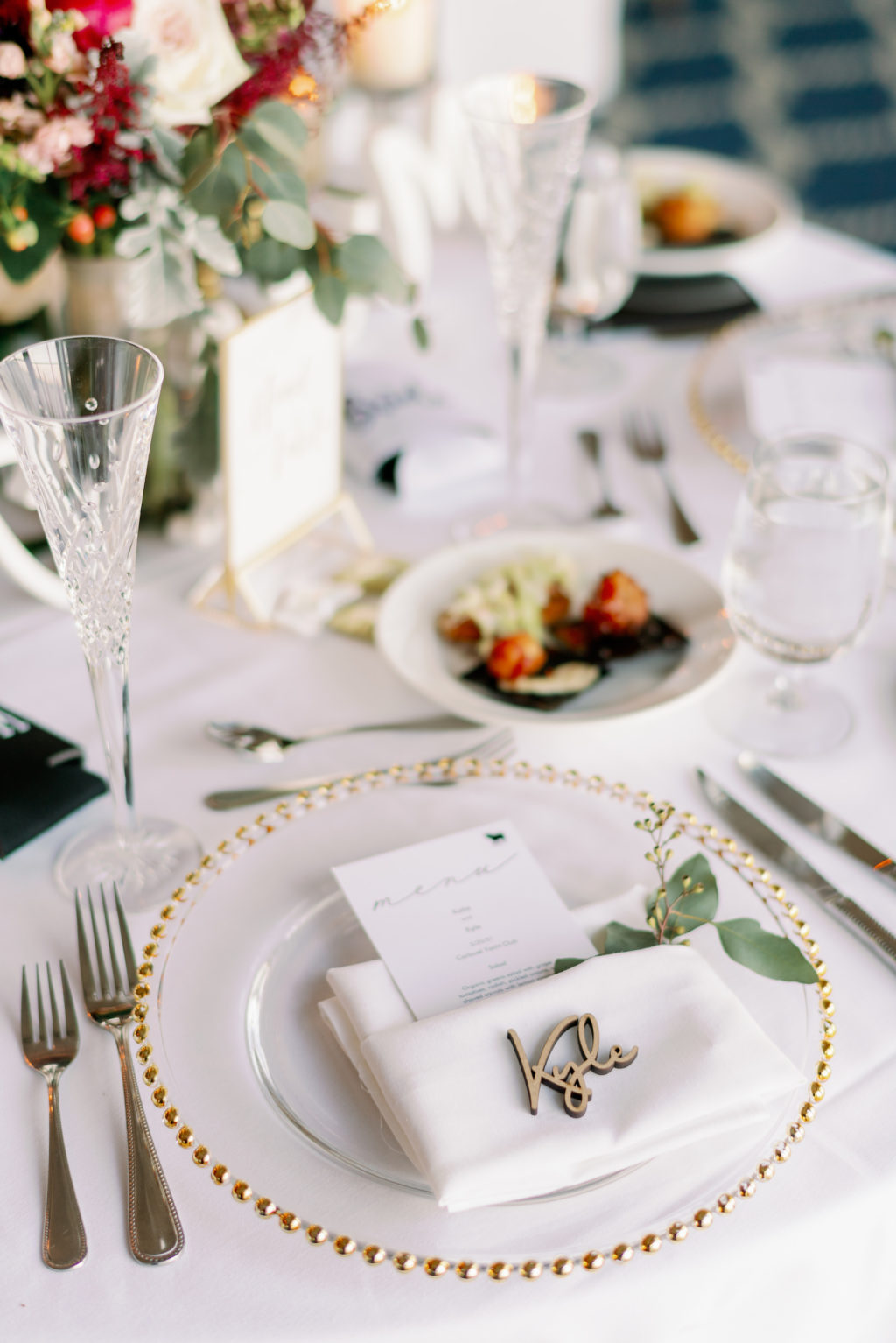 Romantic Rustic Wedding Reception Decor, Gold Beaded and Clear Charger, White Linen Napkin, Wooden Laser Cut Name Place Card   Tampa Bay Wedding Rentals A Chair Affair