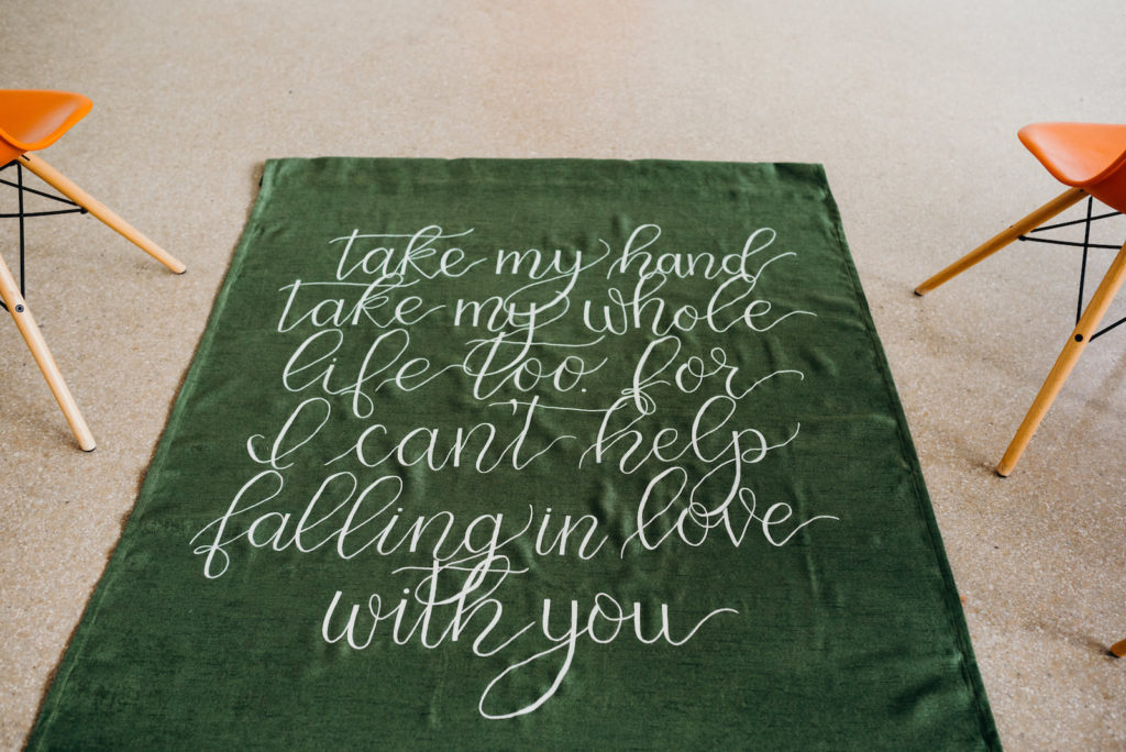 Mid Century Modern Wedding Ceremony Decor, Green Carpet Aisle Runner with White Script Quote