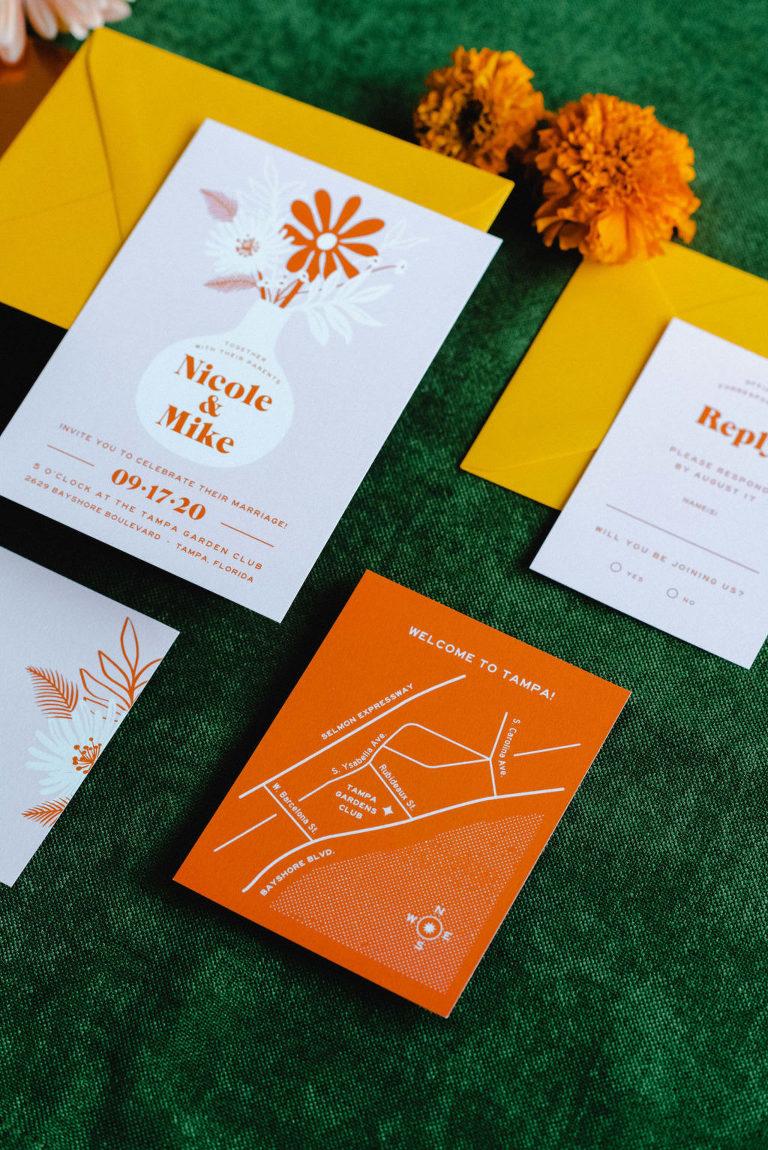 Retro Mid Century Modern Colorful Yellow, Marigold, Burnt Orange and Floral Wedding Invitation Suite
