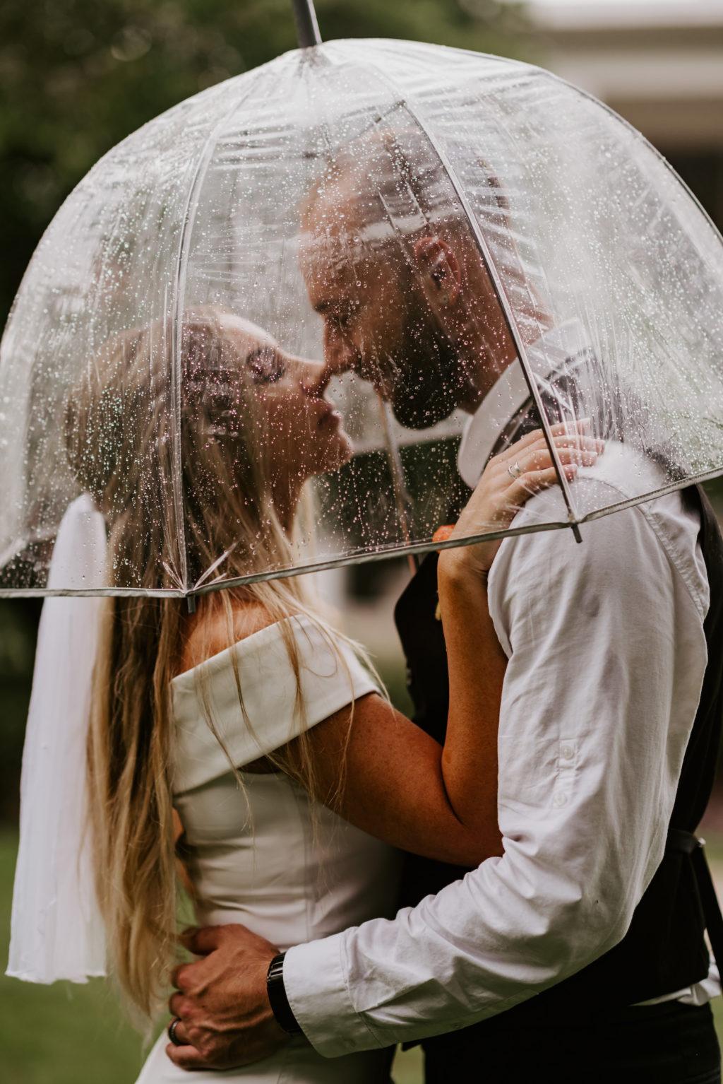 Intimate Bride and Groom Photo Under Clear Umbrella