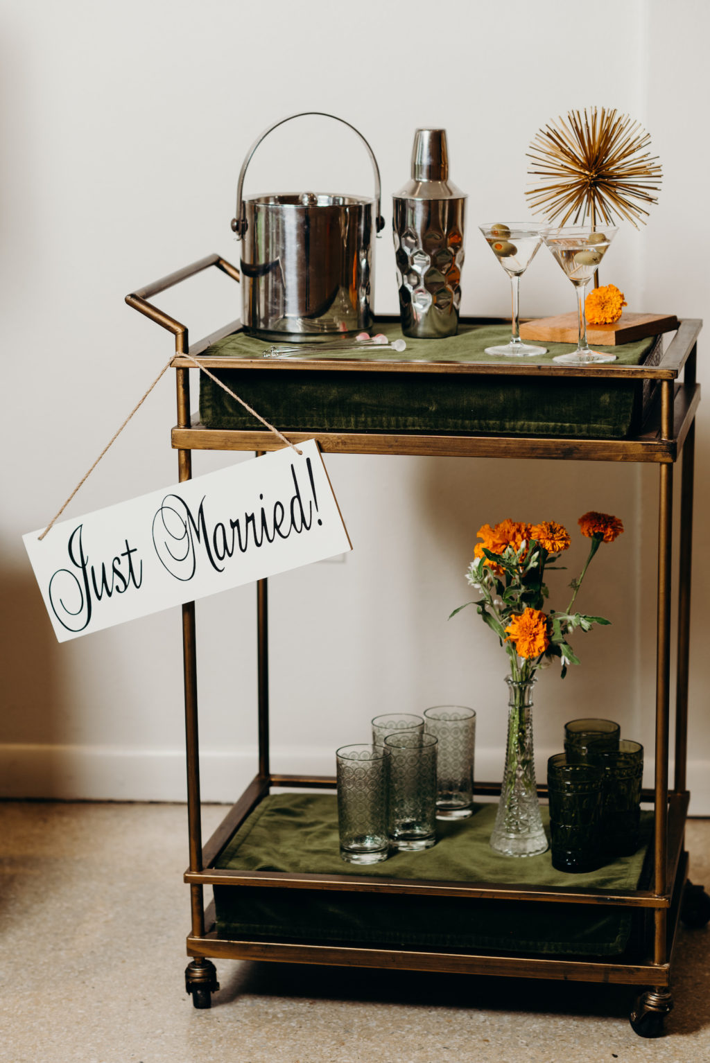 Retro Mid Century Modern Wedding Decor, Green and Bronze Bar Cart with Just Married Sign