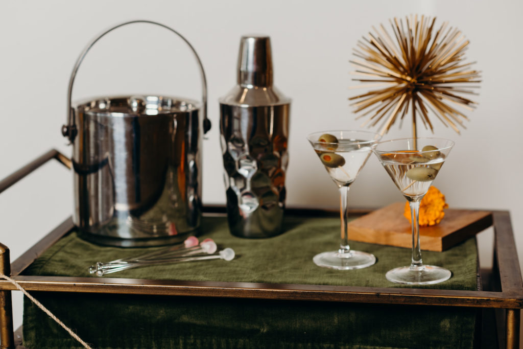 Retro Mid Century Modern Wedding Decor, Green and Bronze Bar Cart with Two Martini Cocktail Drinks