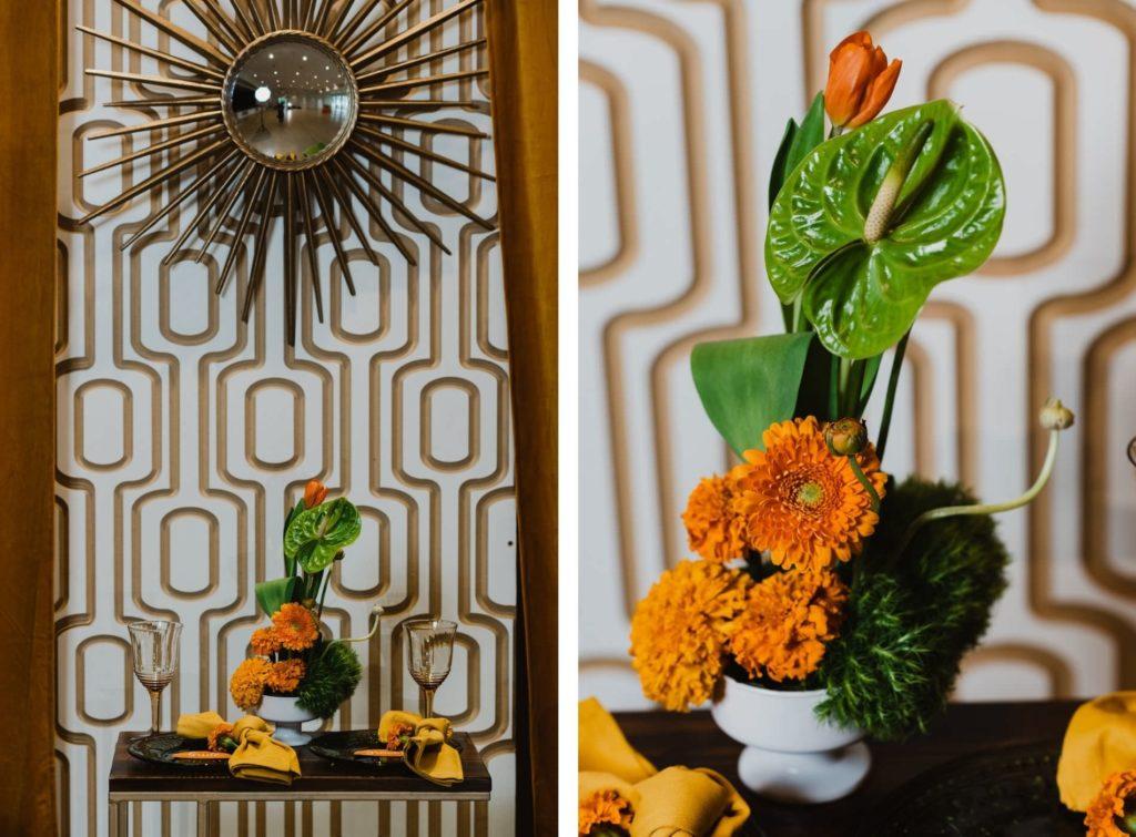 Retro Mid Century Modern Wedding Decor, Gold Geometric Panel, Starburst Mirror, Orange Marigolds, Tropical Green Anthurium Flower Arrangement