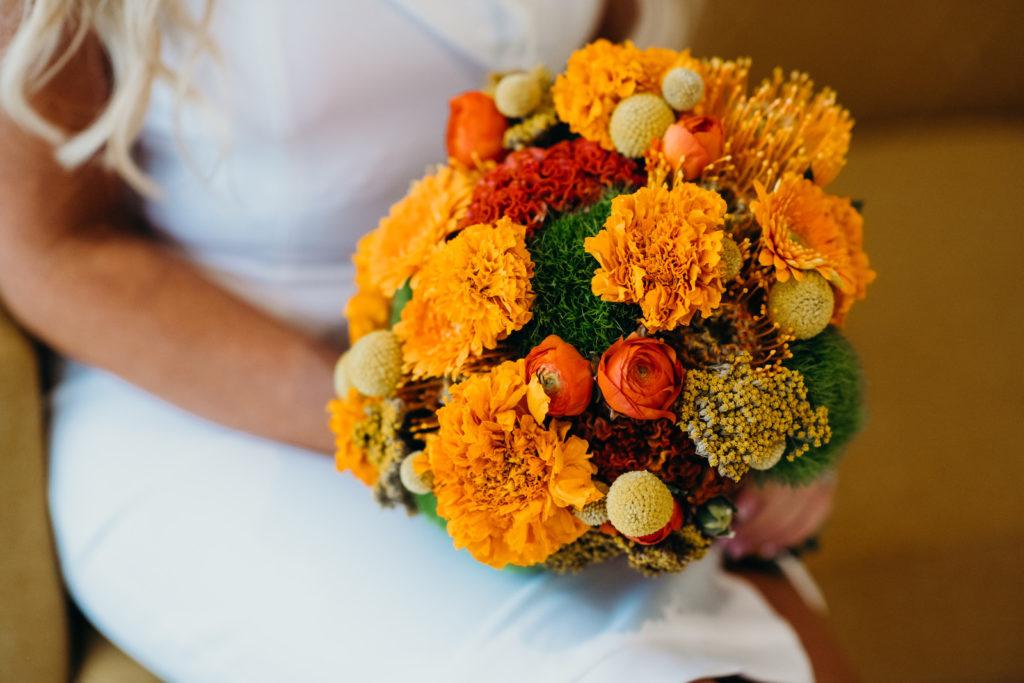 Colorful Retro Mid Century Modern Orange, Yellow, Greenery, Marigold Floral Bouquet