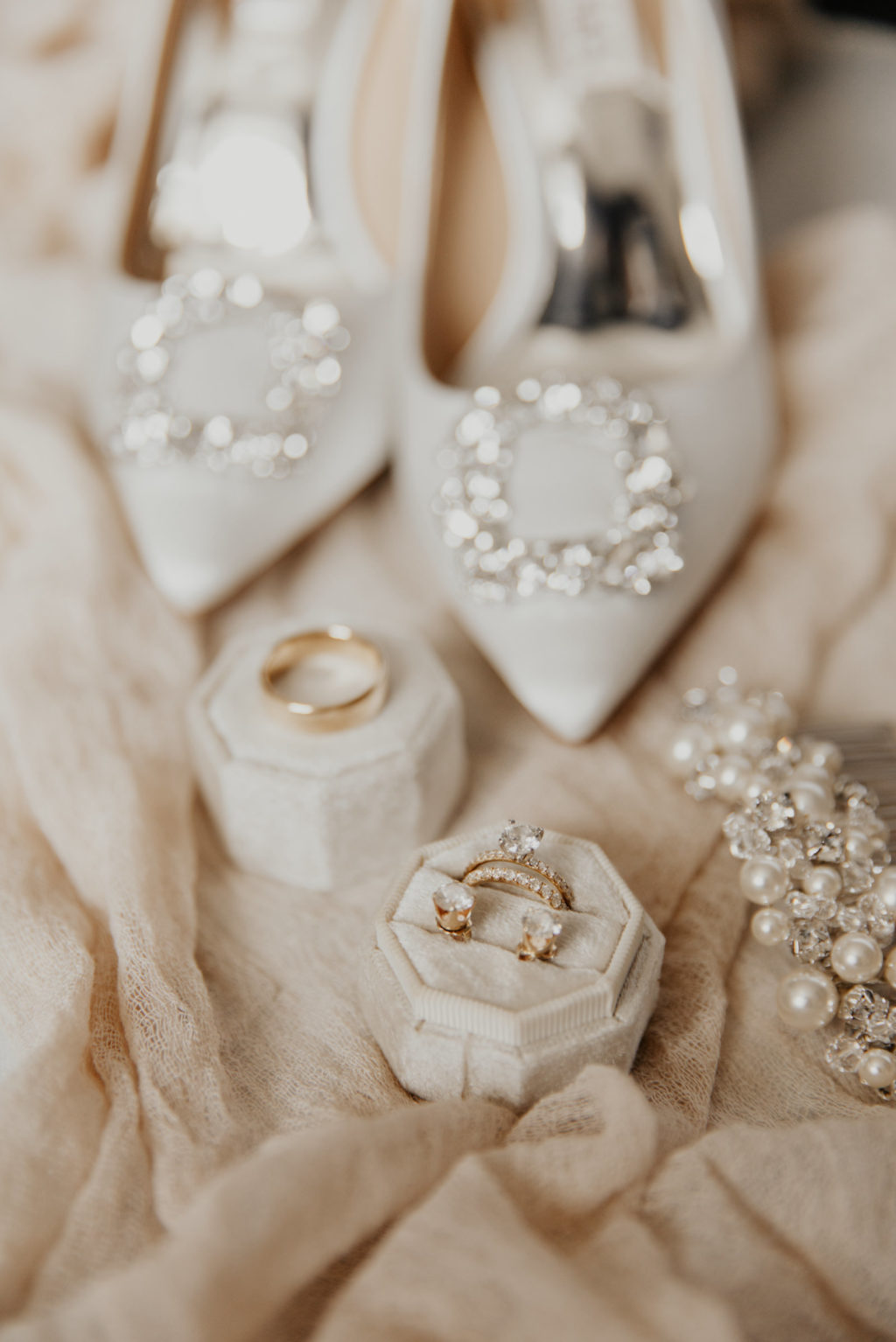 Classic Florida Wedding Day Bridal Details, Octagon Velvet Ring Box Yellow with Gold Diamond Engagement Ring and Earring Studs, Badgley Mischka White Wedding Shoes, Pearl Hair Pendant