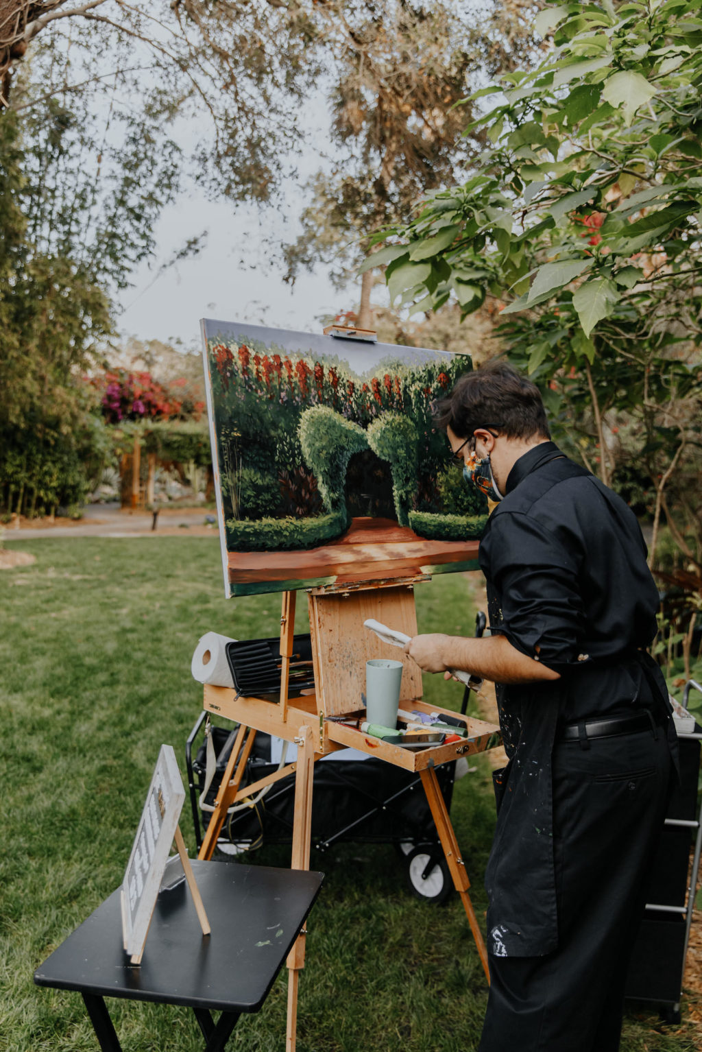 Downtown St. Petersburg Intimate Outdoor Wedding Ceremony With Live Tampa Bay Painter   Florida Outdooor City Park Sunken Gardens