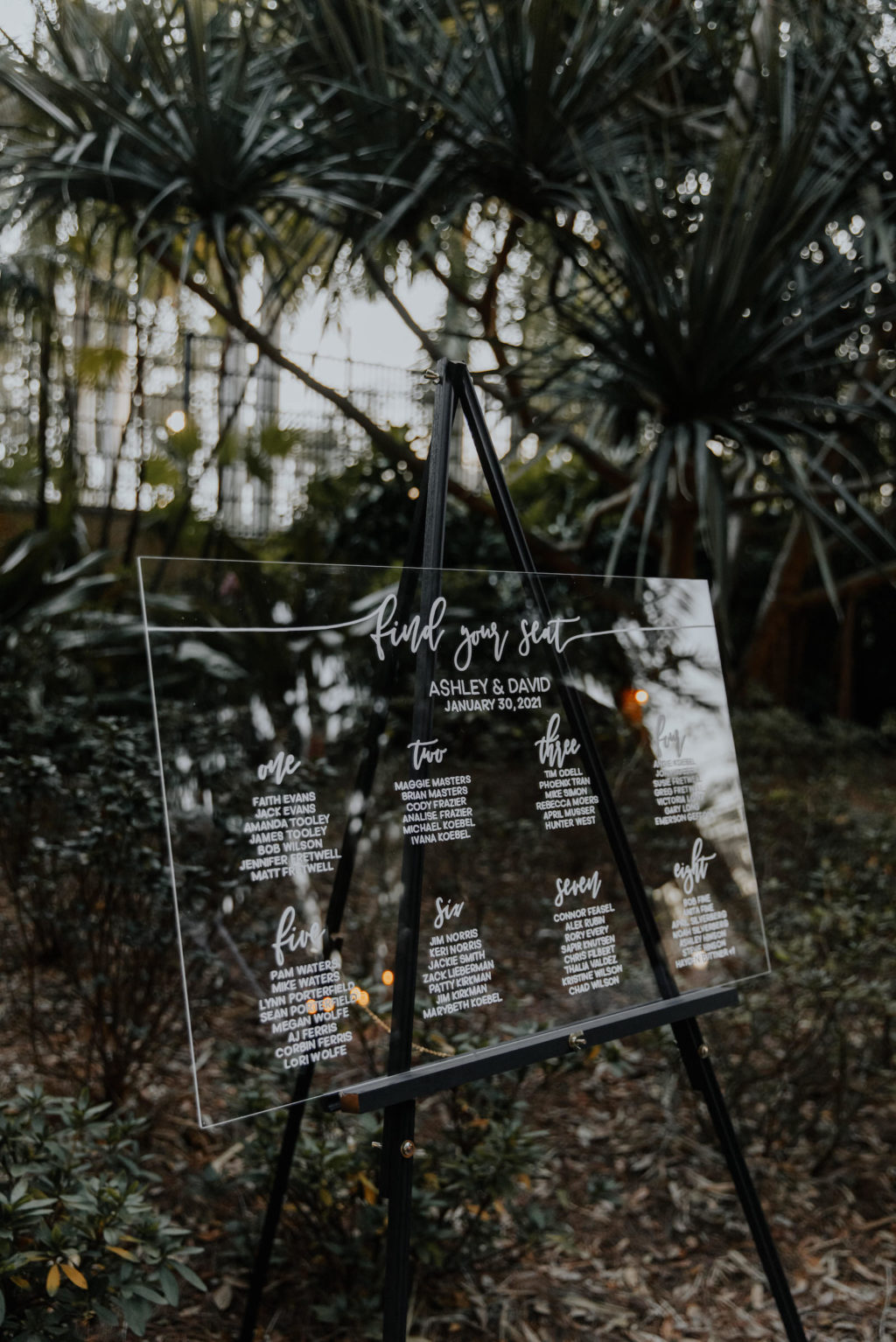 Modern Minimalist Florida Wedding Ceremony Decor, Clear Acrylic Wedding Seating Chart