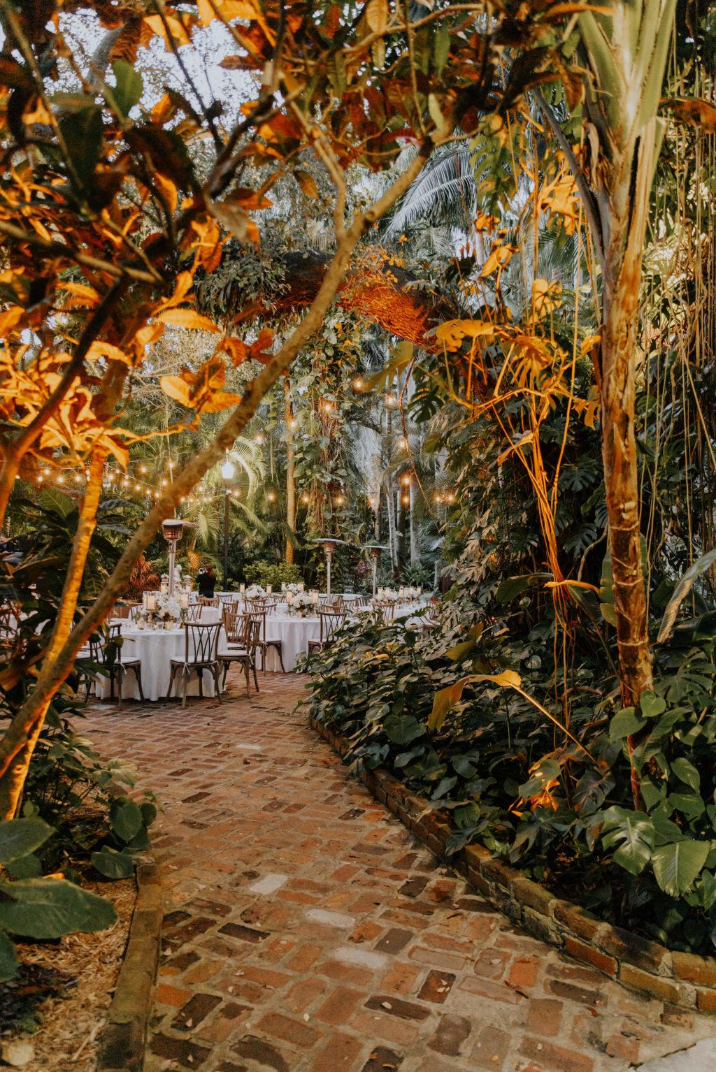 St. Pete Outdoor Wedding Reception Under the Palms with Cafe Lighting   Sunken Gardens
