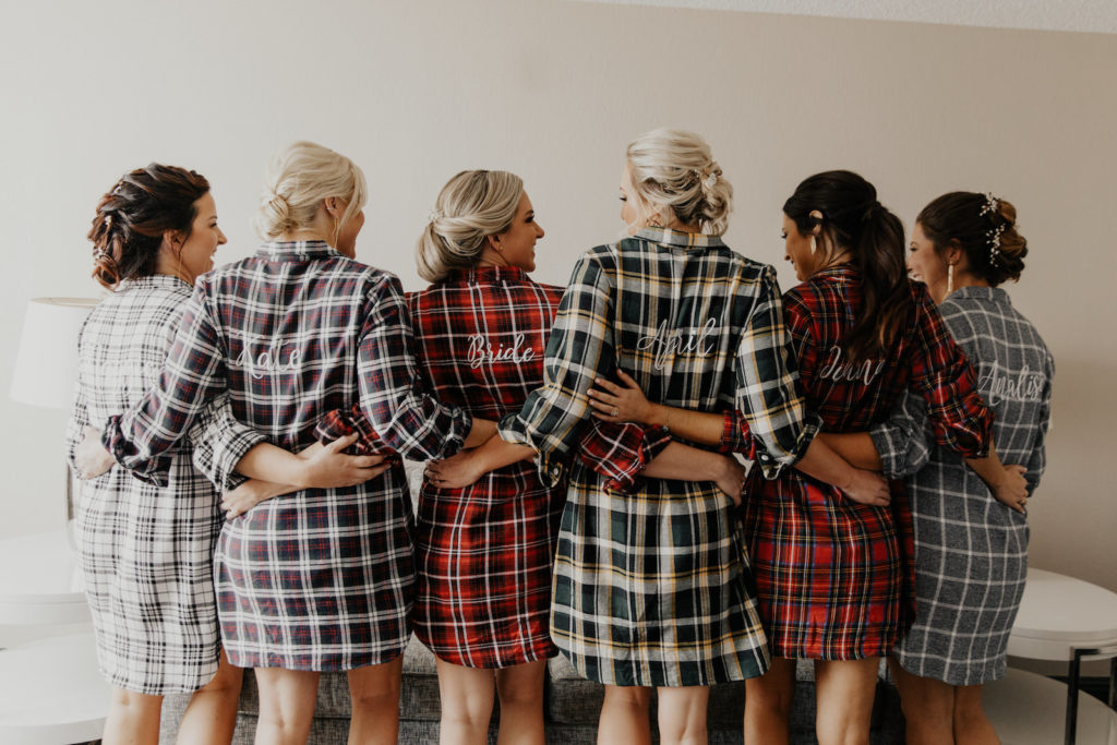 Tampa Bay Bridesmaids with Mismatching Flannel Bridesmaids Robes as Gift with Customized Names, Florida Hair and Makeup Styled by Femme Akoi Beauty Studio
