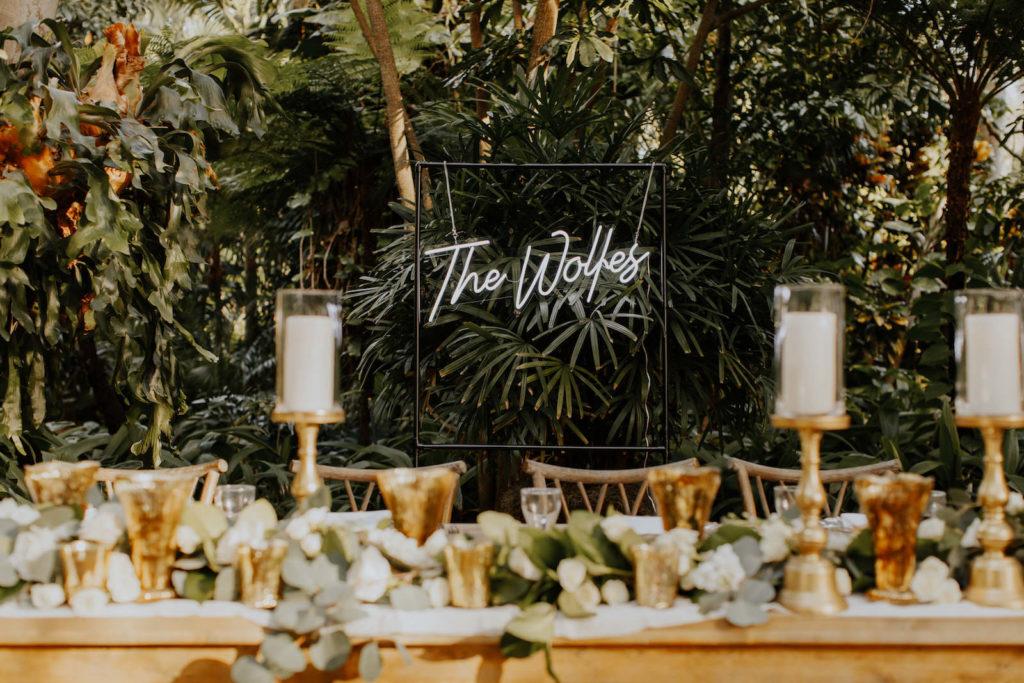 Outdoor Garden Wedding Reception | Acrylic and Neon Custom Last Name Wedding Sign
