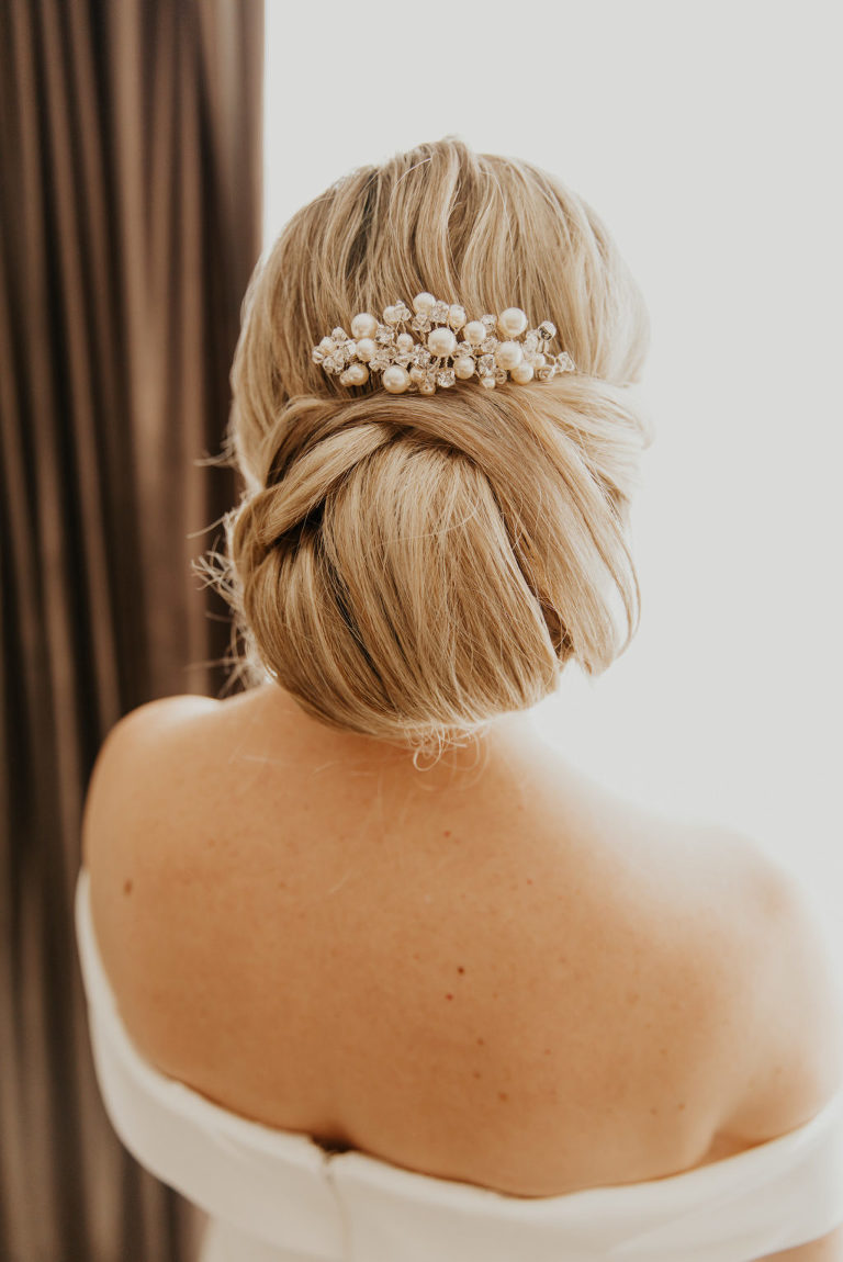 Florida Bridal Hair Inspiration, Inspired By Hailey Beiber 2018 Bridal Look with Chignon Hairstyle with Pearl Hair Comb, Polished Low Up Do Bun   Tampa Bay Wedding Hair and Makeup Artist Femme Akoi Beauty Studios