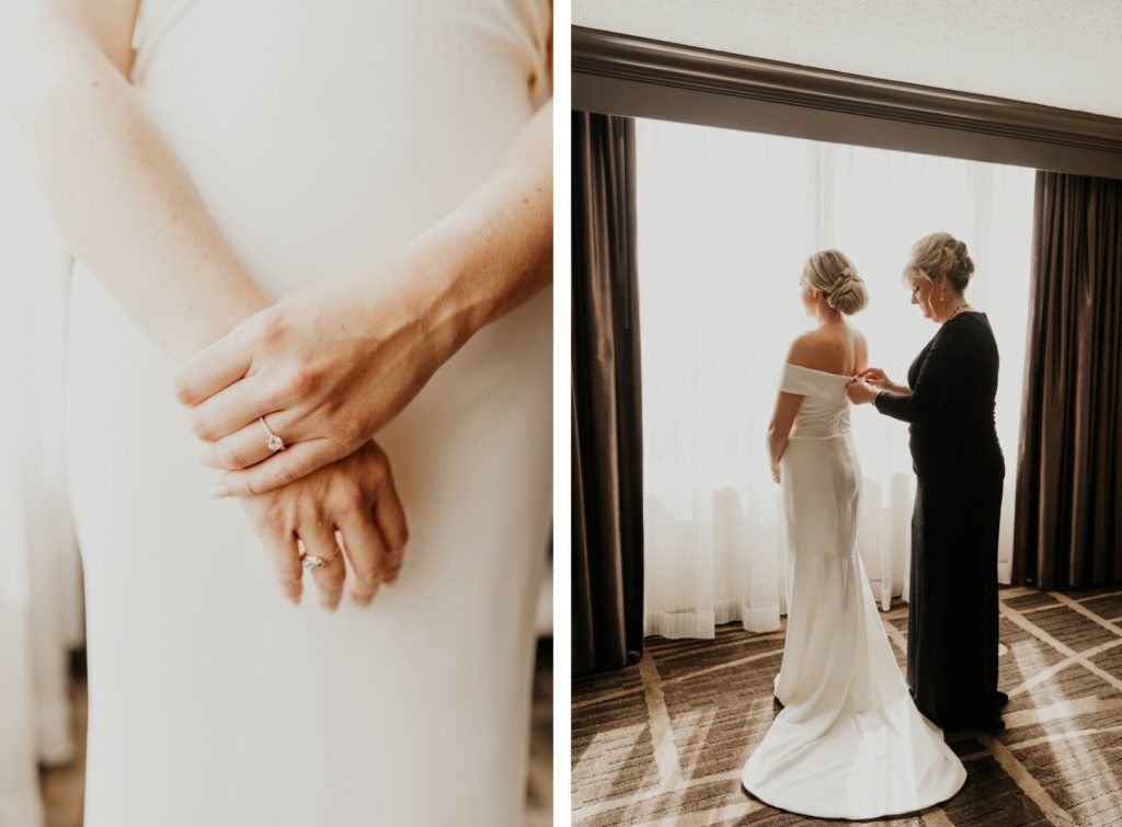 Florida Bride Getting Reading in Elegant BHLDN White Wedding Dress, Off The Shoulder, Fit and Flair Style, Smooth and Classic Satin, with Gold Diamond Soliatre Ring, Hair Styled in Chignon Bun, Mother of Bride in Black Long Dress Zipping Up Daughters Gown   Tampa Bay Hair and Makeup Femme Akoi Beauty Studio