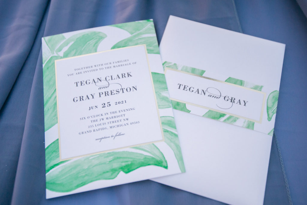 Modern Tropical Florida Wedding Invitation Suite, Watercolor Stationery of Lush Green Palm and Monstera Leaves with Gold Foil Accent | Tampa Bay Wedding Photographer Carrie Wildes Photography | South Tampa Wedding Planner Socialite Events