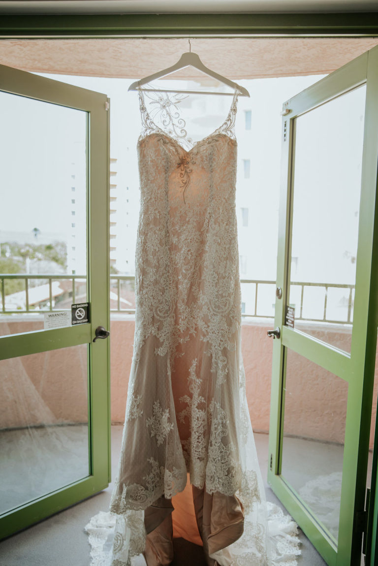 Wedding Dress Hanger Shot | Illusion Lace V Neck Sheath Bridal Gown Wedding Dress with Champagne Liner by Ashley and Justin Bride