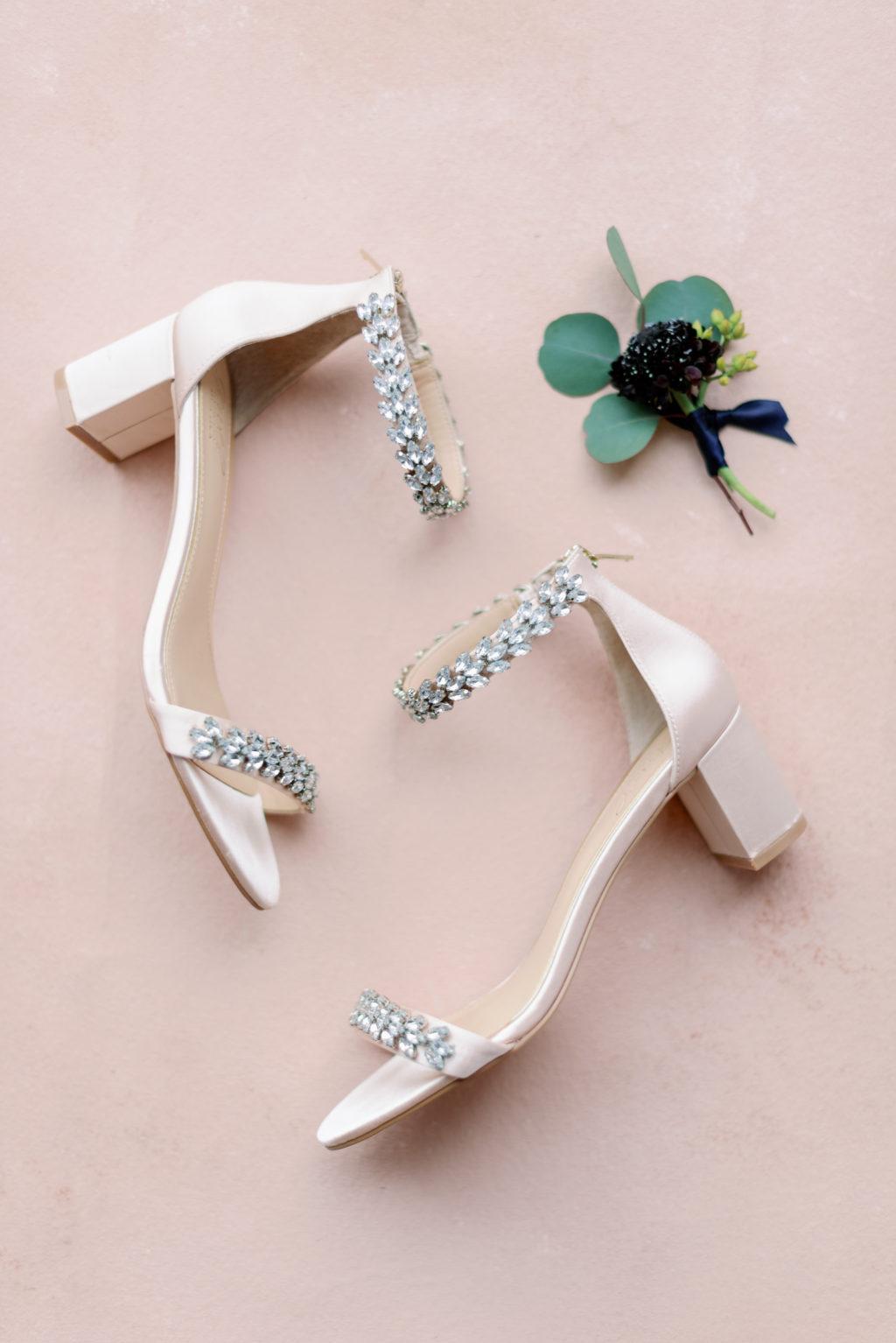 Ivory and Rhinestone Straps Block Heel Wedding Shoes