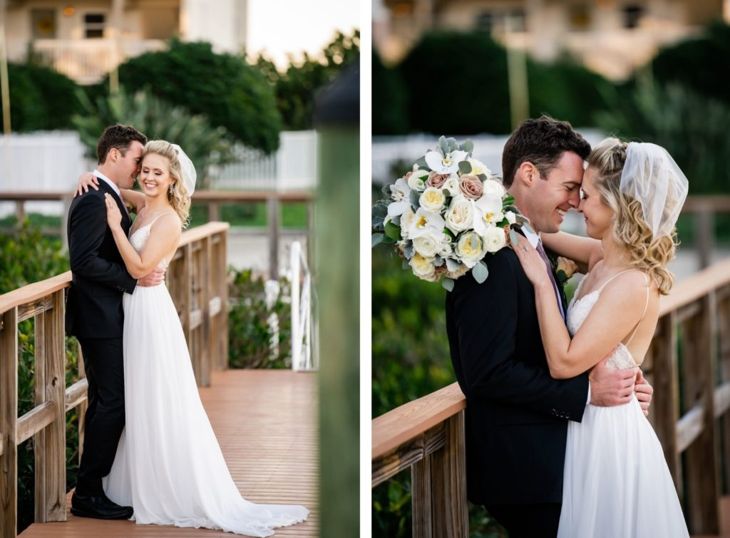 Florida Bride and Groom Intimate Photos on Dock Holding White and Mauve Roses Round Floral Bouquet | Tampa Bay Wedding Dress Isabel O'Neil Bridal | Wedding Florist Iza's Flowers