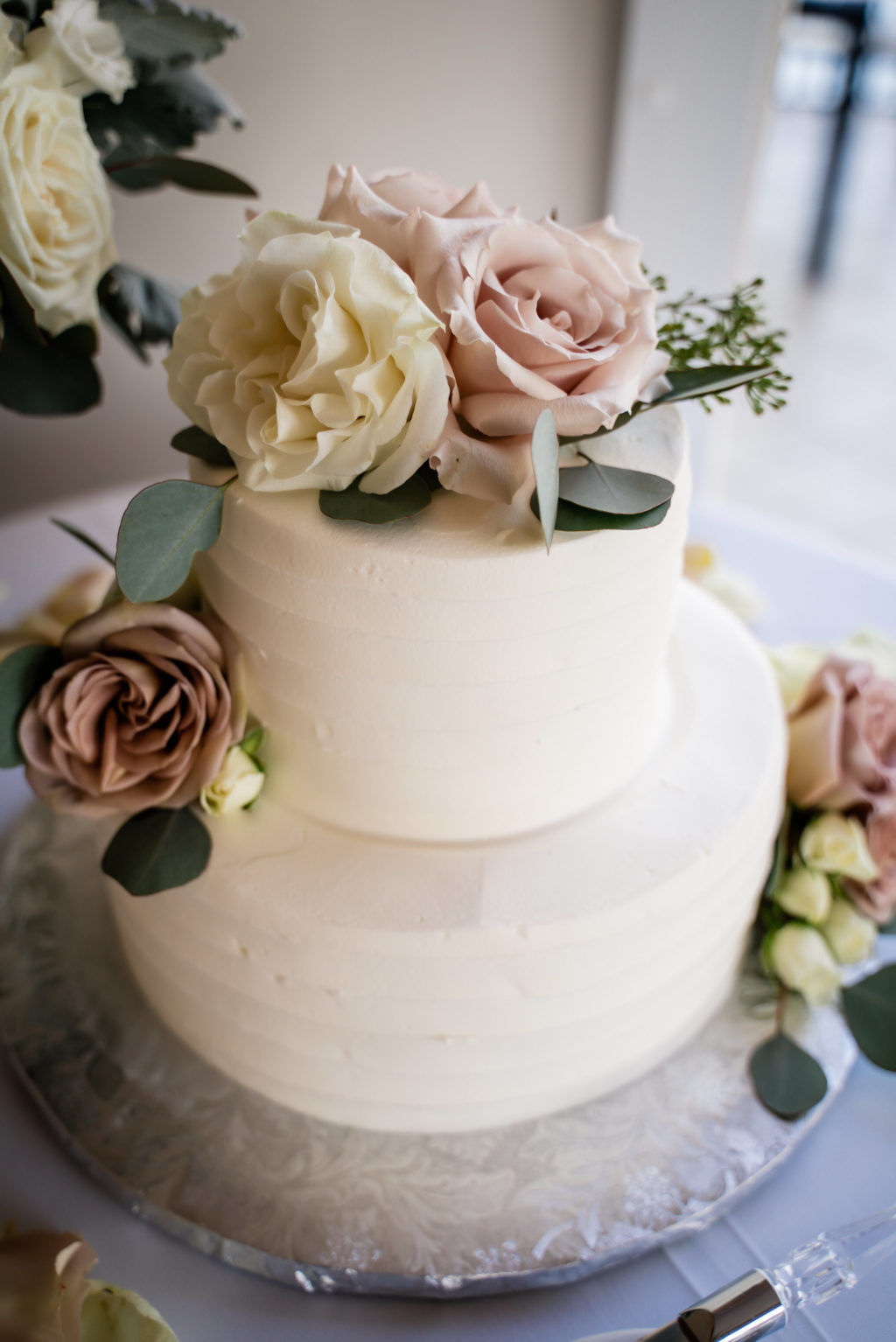 Simple Two Tier White Wedding Cake with Real Mauve and Ivory Roses Cake Topper