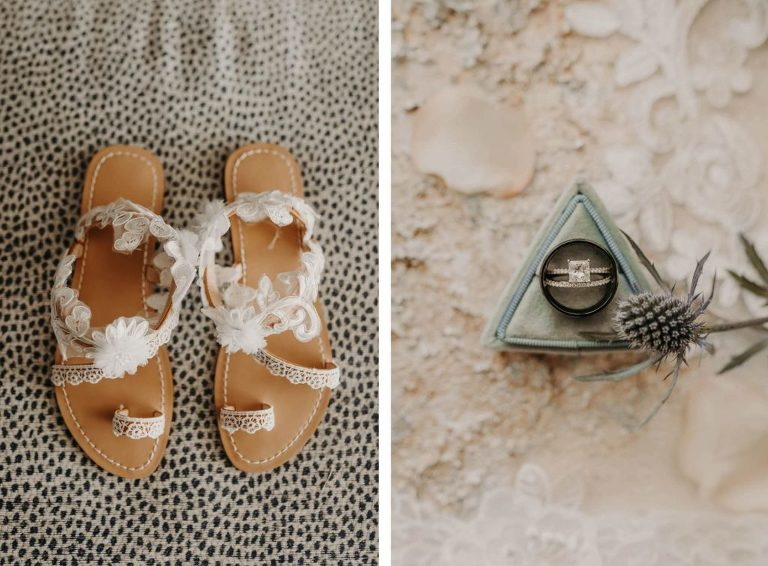 Floral Open Toe Wedding Shoe Sandals | Engagement Ring in Box