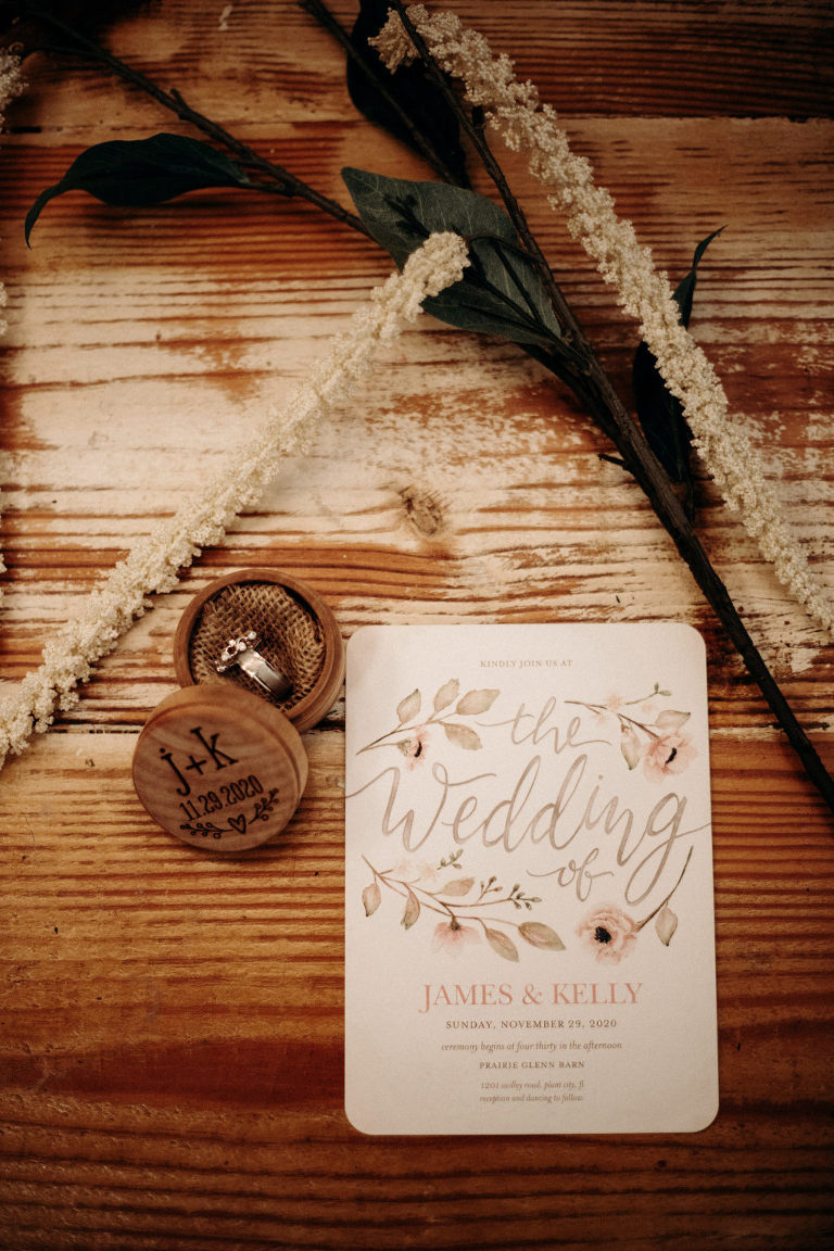 Rustic Wedding Invitation and Custom Engraved Wooden Ring Box with Bride and Groom Rings