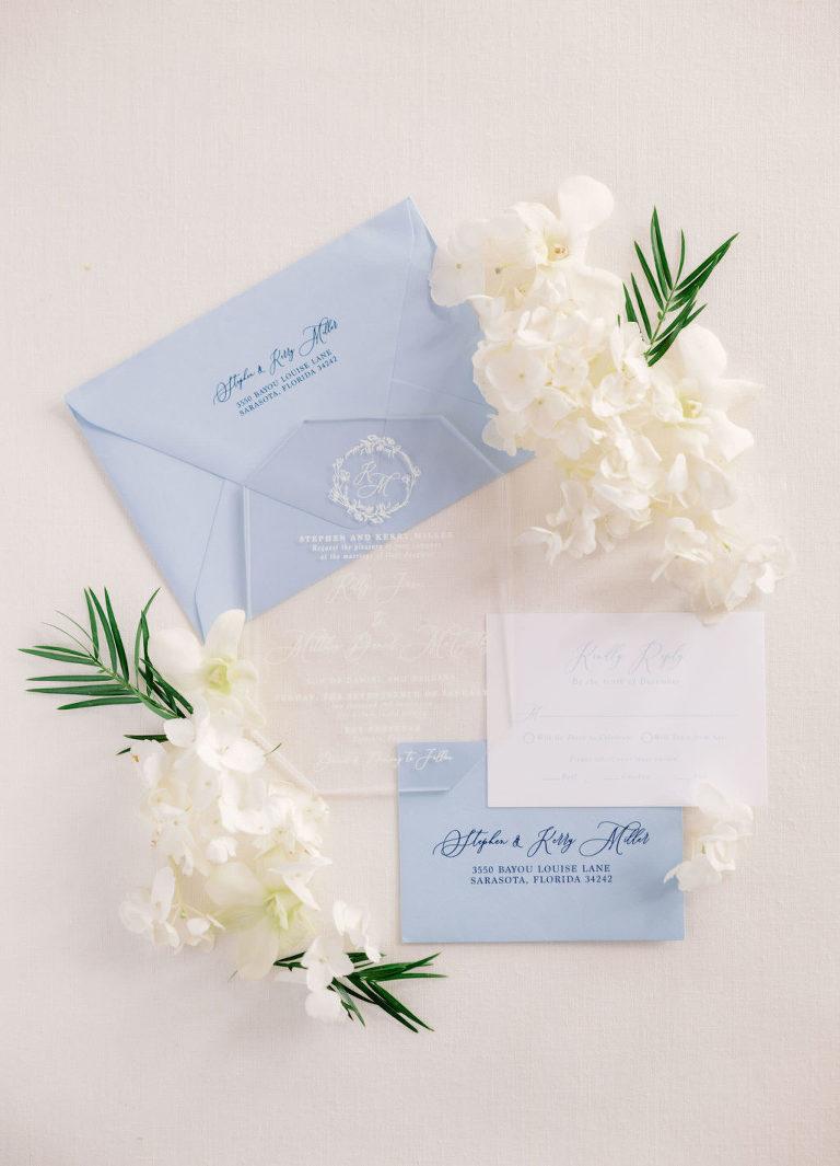 Elegant Modern Acrylic and White Font Wedding Invitation and Dusty Blue Envelopes