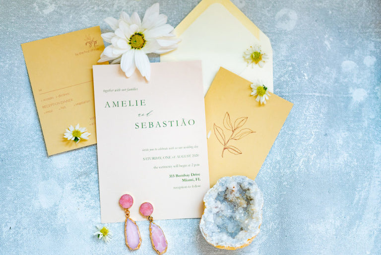 Tampa Wedding Styled Shoot 70's Retro Vintage   Mustard Yellow Gold Wedding Invitation Suite Flat Lay with Daisies and Agate Crystal