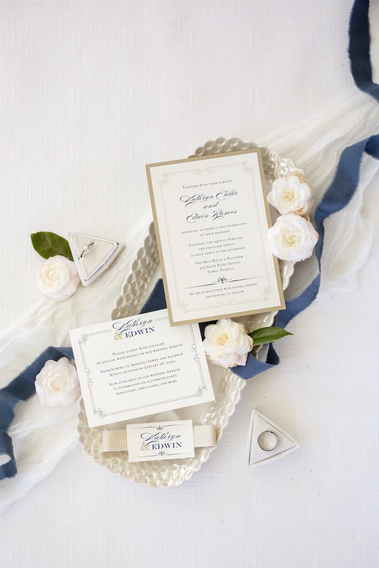 Elegant Modern Gold and Navy Blue Wedding Invitation Suite | Tampa Bay Wedding Photographer Lifelong Photography Studio