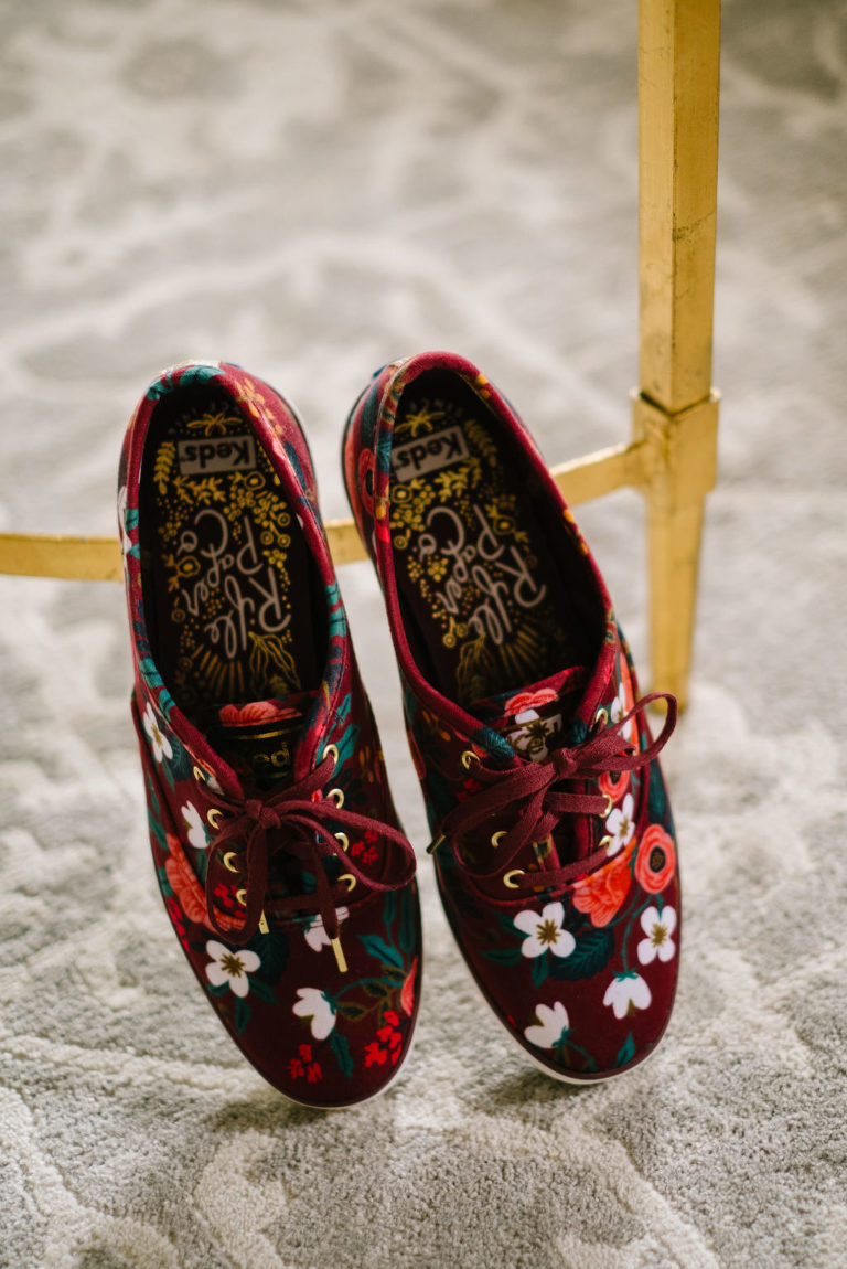 Unique Burgundy Red and Floral Custom Rifle Paper Co Sneaker Wedding Shoes