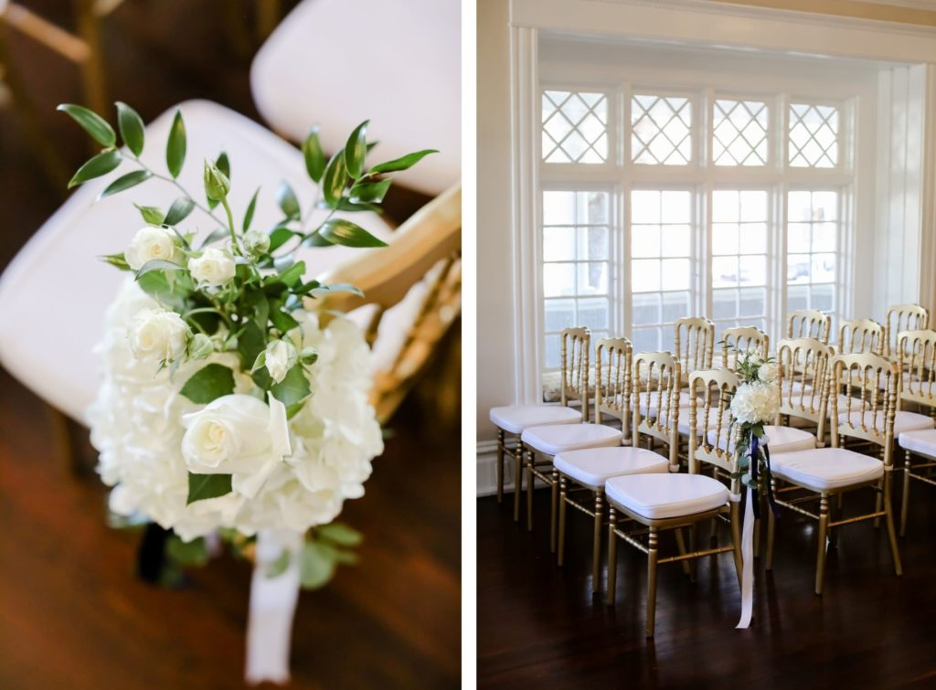 Classic Elegant Wedding Ceremony Decor, White Roses and Hydrangeas, Greenery Floral Arrangement on Gold Chairs | Tampa Bay Wedding Photographer Lifelong Photography Studio | Wedding Planner Core Concepts | Wedding Rentals A Chair Affair | Kate Ryan Event Rentals