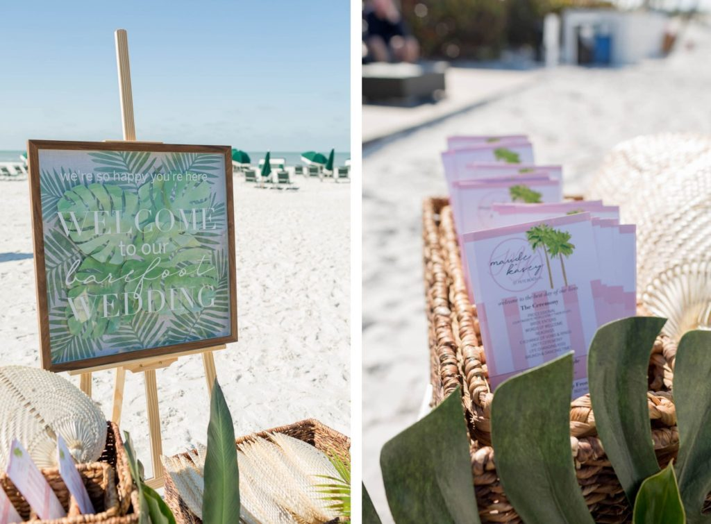 St. Pete Beach Wedding Welcome Sign with Monstera Leaf Frame | Soft Pink and White Stripe Wedding Programs and Woven Raffia Hand Fans