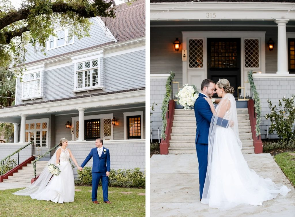 Classic Traditional Bride in Lace and Illusion Scoop High Neckline and Tulle Skirt A-Line Wedding Dress with Groom in Blue Suit | Tampa Bay Wedding Photographer Lifelong Photography Studio | Wedding Venue The Orlo | Wedding Planner Core Concepts