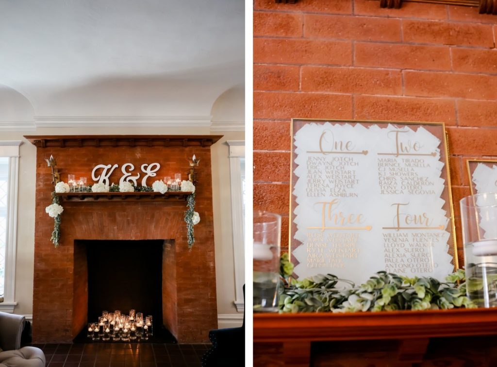 Classic Wedding Decor, Red Brick Fireplace Mantle with Large Wooden Laser Cut Bride and Groom Initials, White Floral Arrangements, Greenery Garland, Floating Candles, Gold Fram Acrylic Seating Chart | Tampa Bay Wedding Photographer Lifelong Photography Studio | Wedding Planner Core Concepts