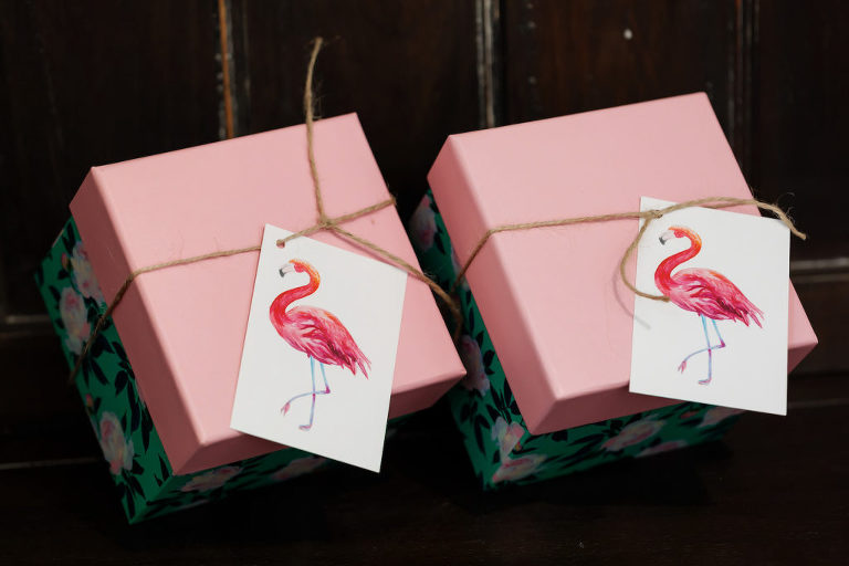 Tropical Pink and Floral Gift Box with Flamingo Tags | Tampa Bay Wedding Photographer Limelight Photography