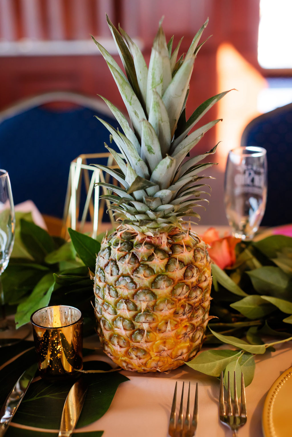 Tropical Wedding Reception Decor, Pineapple Table Centerpiece   Tampa Bay Wedding Photographer Limelight Photography