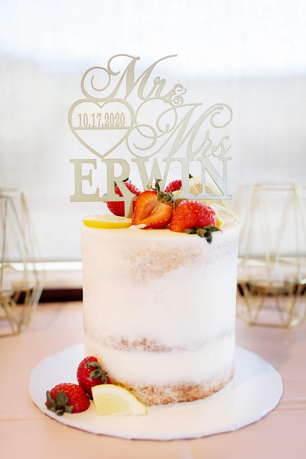White Semi Naked One Tier Wedding Cake with Strawberries and Lemon Slices, Custom Laser Cut Cake Topper   Tampa Bay Wedding Cake The Cake Girl   Wedding Photographer Limelight Photography