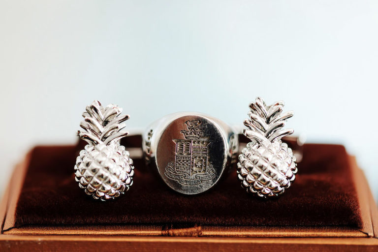 Tropical Silver Groom Pineapple Cufflinks | Tampa Bay Wedding Photographer Limelight Photography