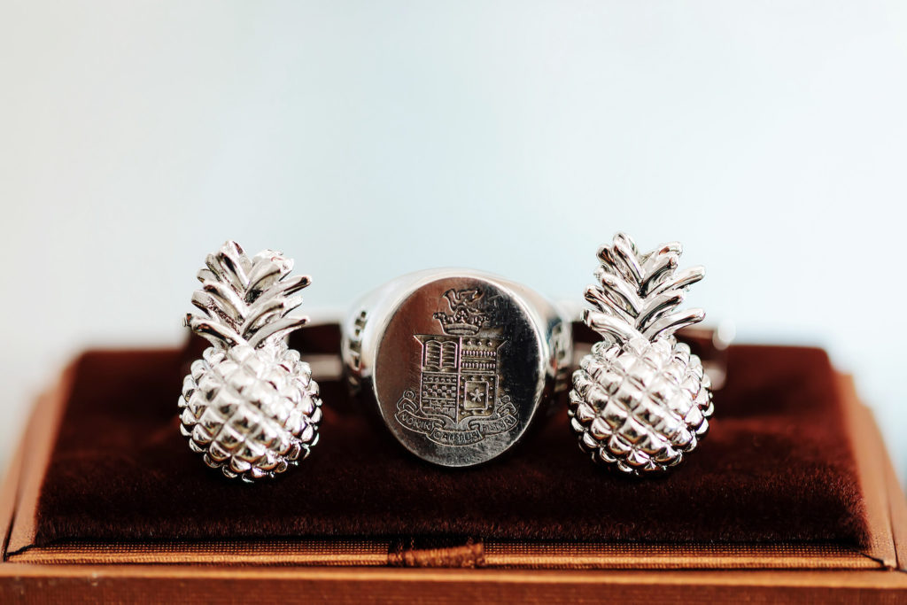 Tropical Silver Groom Pineapple Cufflinks   Tampa Bay Wedding Photographer Limelight Photography