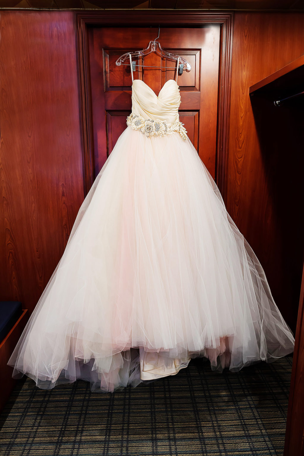 Princess Ballgown Sweetheart Strapless Bodice, Floral Belt, Tulle Skirt with Blush Pink Lining   Tampa Bay Wedding Photographer Limelight Photography