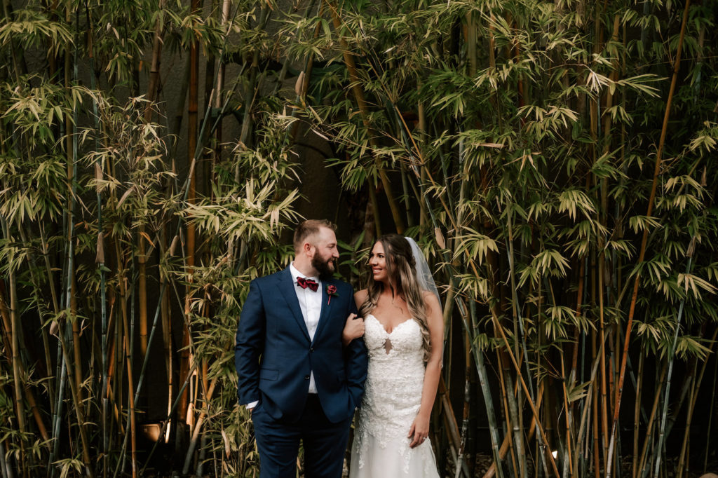Downtown St. Pete Bride And Groom in Romantic Bamboo Courtyard | Florida Unique Wedding Venue NOVA 535 in Tampa Bay