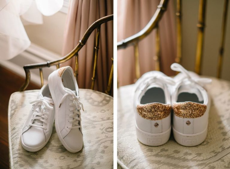 White Wedding Sneakers with Gold Glitter Bride Shoes