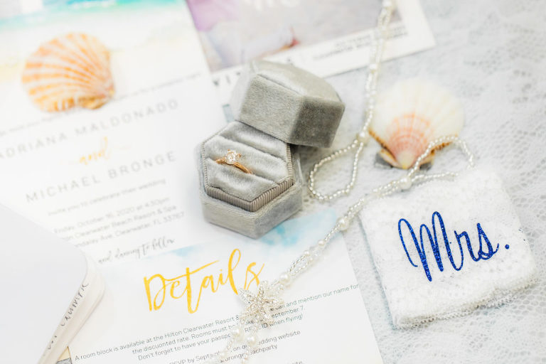 Tropical Wedding Accessories, Round Diamond Yellow Gold Engagement Ring, Pearl Accessories, Blue Mrs White Lace Garter, Beach Theme Wedding Invitation Suite