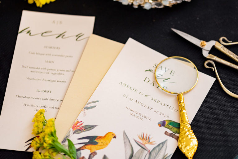 Tampa Wedding Styled Shoot 70's Retro Vintage   Tropical Bird Wedding Save The Date and Menu Card Flat Lay
