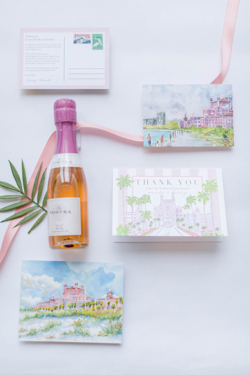 Florida Beach Wedding Stationary with Watercolor Painting Art Drawing of the Pink Palace | St. Pete Beach Wedding Venue The Don CeSar