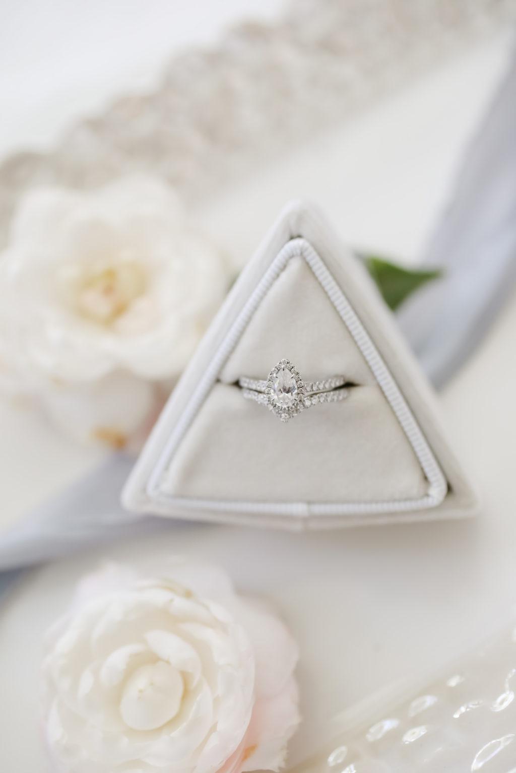 Pear Diamond Engagement Ring with Halo in Triangular Gray Ring Box | Tampa Bay Wedding Photographer Lifelong Photography Studio