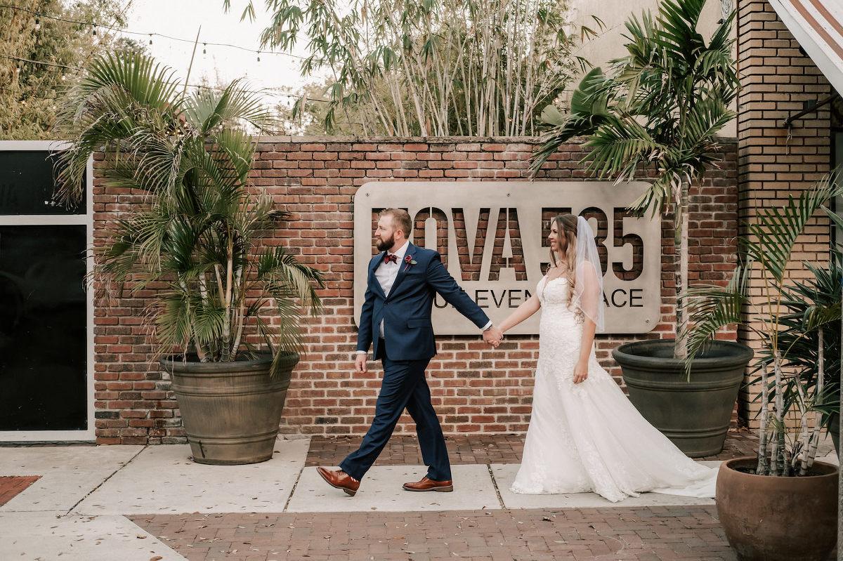 Florida Bride and Groom At Industrial Downtown St. Pete Wedding Venue   NOVA 535