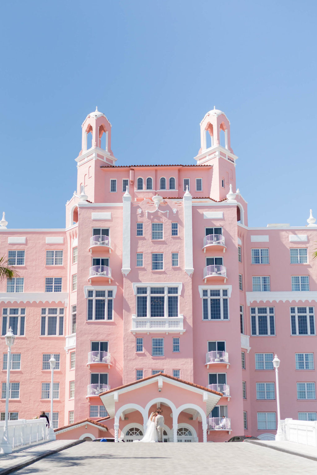 Bride and Groom Outdoor Portrait at St. Pete Beach Wedding Venue The Don CeSar Pink Palace