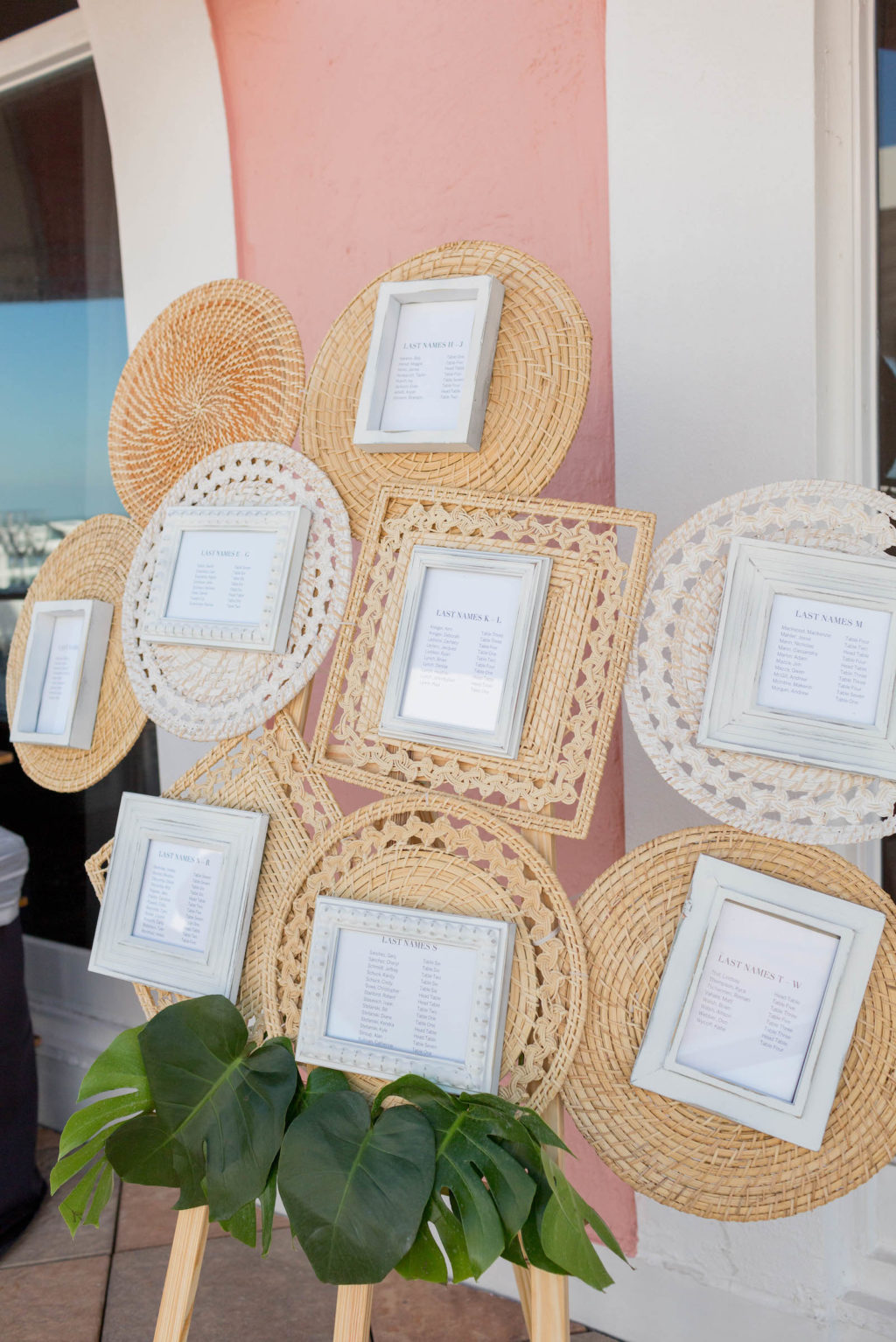 Tropical Boho Beach Wedding Seating Chart with Woven Rattan Placemats and Framed Table Card Seating Assignment