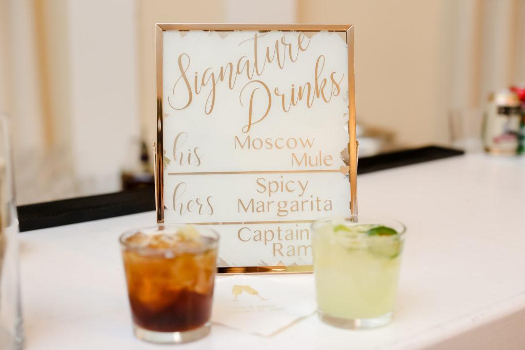 Classic Wedding Reception Decor, Gold Hand Painted Custom Drink Menu | Tampa Bay Wedding Photographer Lifelong Photography Studio | Wedding Planner Core Concepts
