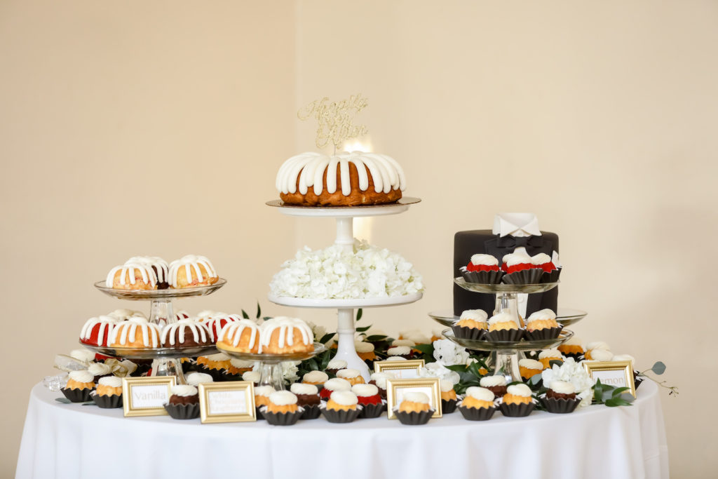 Wedding Reception Dessert Table with Big and Mini Nothing Bundt Cakes | Tampa Bay Wedding Photographer Lifelong Photography Studio